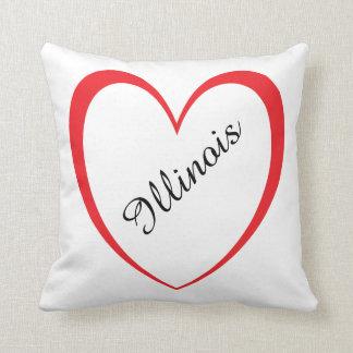 I Love Illinois Polyester Throw Pillow