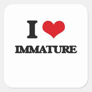I Love Immature Square Stickers