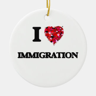 I Love Immigration Double-Sided Ceramic Round Christmas Ornament