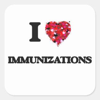 I Love Immunizations Square Sticker
