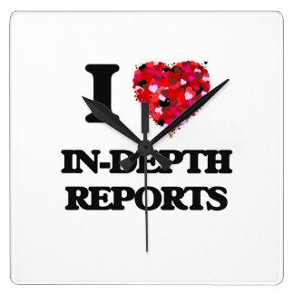 I Love In-Depth Reports Square Wallclocks