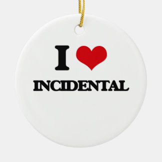 I Love Incidental Double-Sided Ceramic Round Christmas Ornament