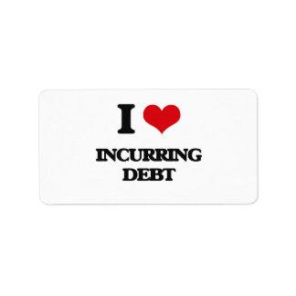 I Love Incurring Debt Address Label