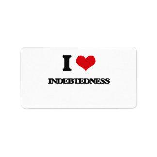 I Love Indebtedness Address Label