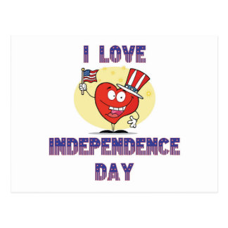 I LOVE INDEPENDENCE DAY POSTCARD