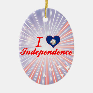 I Love Independence, Virginia Double-Sided Oval Ceramic Christmas Ornament