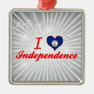 I Love Independence, Virginia Square Metal Christmas Ornament