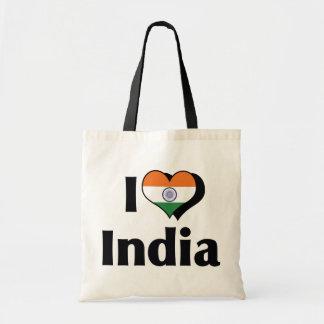 I Love India Flag Tote Bag