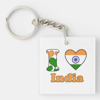 I love India Single-Sided Square Acrylic Keychain