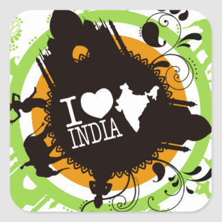 I love india square sticker