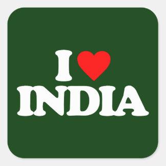 I LOVE INDIA SQUARE STICKER