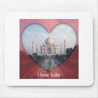 I Love India Taj Mahal Heart Mousepads