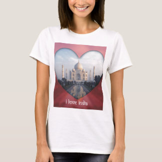 """I Love India"" Taj Mahal Heart T-Shirt"