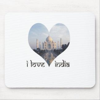 I Love India with Taj Mahal Mousepads