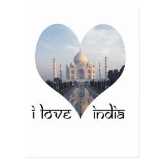 I Love India with Taj Mahal Postcard