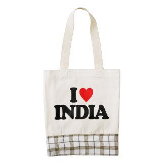 I LOVE INDIA ZAZZLE HEART TOTE BAG