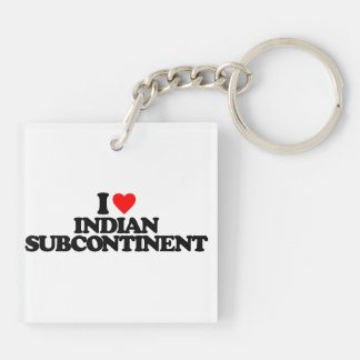 I LOVE INDIAN SUBCONTINENT SQUARE ACRYLIC KEY CHAINS