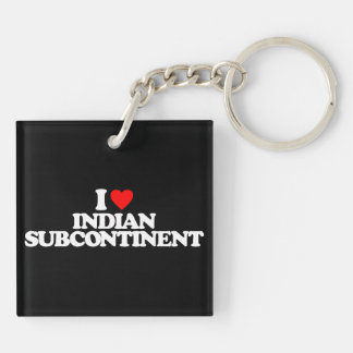 I LOVE INDIAN SUBCONTINENT SQUARE ACRYLIC KEYCHAIN