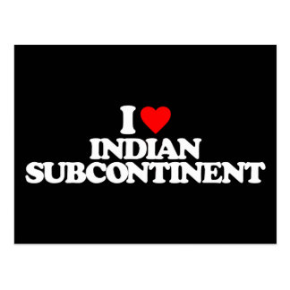 I LOVE INDIAN SUBCONTINENT POSTCARD