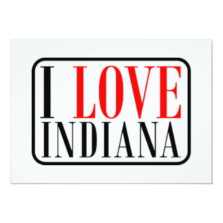 I Love Indiana Design 5x7 Paper Invitation Card