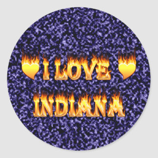 i love indiana fire and flames blue stickers