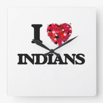 I Love Indians Square Wall Clock