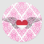 I Love Indonesia -wings Round Sticker