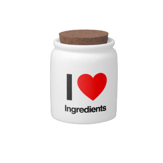 i love ingredients candy dish