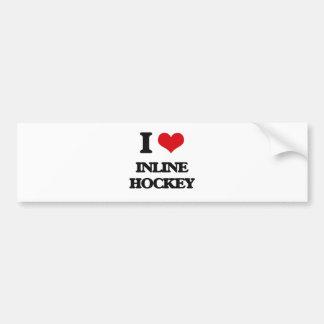 I Love Inline Hockey Car Bumper Sticker