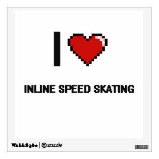 I Love Inline Speed Skating Digital Retro Design Wall Decals