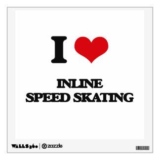 I Love Inline Speed Skating Wall Skins