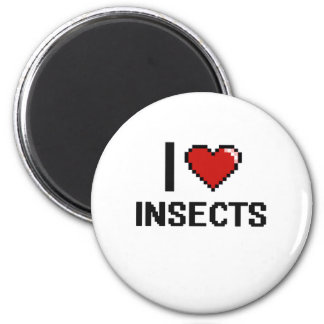 I love Insects Digital Design 2 Inch Round Magnet