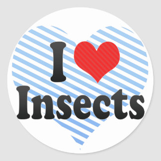 I Love Insects Round Stickers
