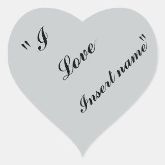 """""""I Love Insert name"""" Heart Sticker"""