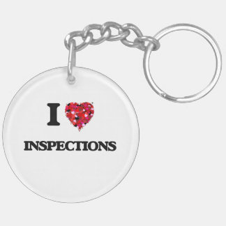 I Love Inspections Double-Sided Round Acrylic Keychain