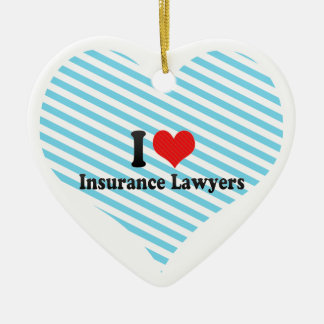 I Love Insurance Lawyers Double-Sided Heart Ceramic Christmas Ornament