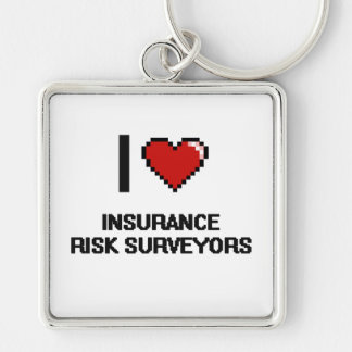 I love Insurance Risk Surveyors Silver-Colored Square Keychain