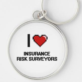 I love Insurance Risk Surveyors Silver-Colored Round Keychain