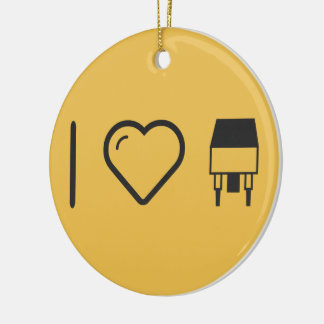 I Love Integrated Double-Sided Ceramic Round Christmas Ornament
