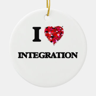I Love Integration Double-Sided Ceramic Round Christmas Ornament