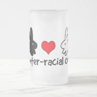 I Love Inter-racial Couples Frosted Glass Beer Mug