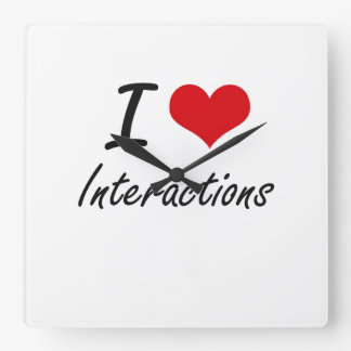 I Love Interactions Square Wall Clock