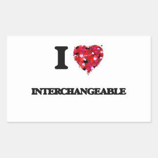 I Love Interchangeable Rectangular Sticker
