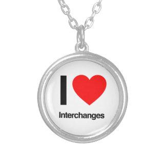 i love interchanges round pendant necklace