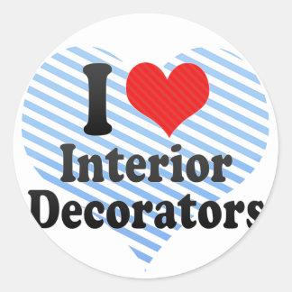 I Love Interior Decorators Classic Round Sticker