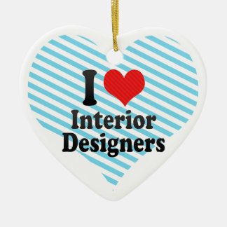 I Love Interior Designers Double-Sided Heart Ceramic Christmas Ornament