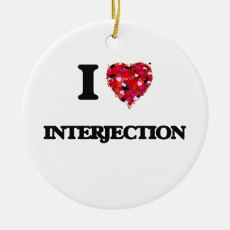 I Love Interjection Double-Sided Ceramic Round Christmas Ornament