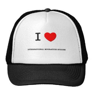 I Love INTERNATIONAL MIGRATION STUDIES Hats