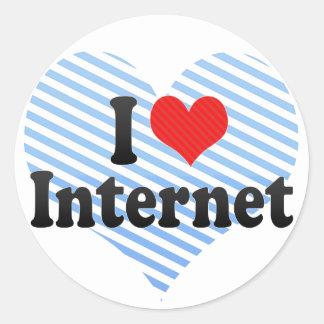 I Love Internet Round Stickers