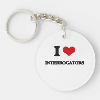 I Love Interrogators Single-Sided Round Acrylic Keychain